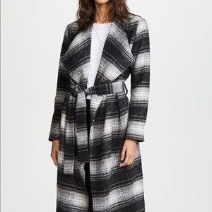 BB Dakota Sisson Plaid Drape Front Coat